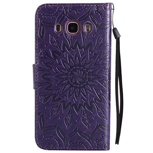 Trumpshop Smartphone Carcasa Funda Protección para Samsung Galaxy J5 (2016) [Gris] 3D Mandala PU Cuero Caja Protector Billetera Choque Absorción Púrpura