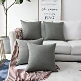 Decorative Pillow Cover - HOME BRILLIANT Decorative Linen Square Throw Cushion Covers Pillow Shams for Bed, 18