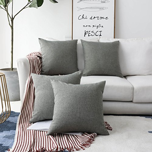 HOME BRILLIANT Decorative Linen Square Throw Cushion Covers