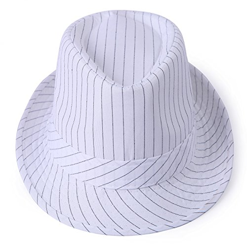 HDE Unisex Pattern Stingy Short Brim Gangster Cuban Style Fedora Hat Cap (White Pinstripe)