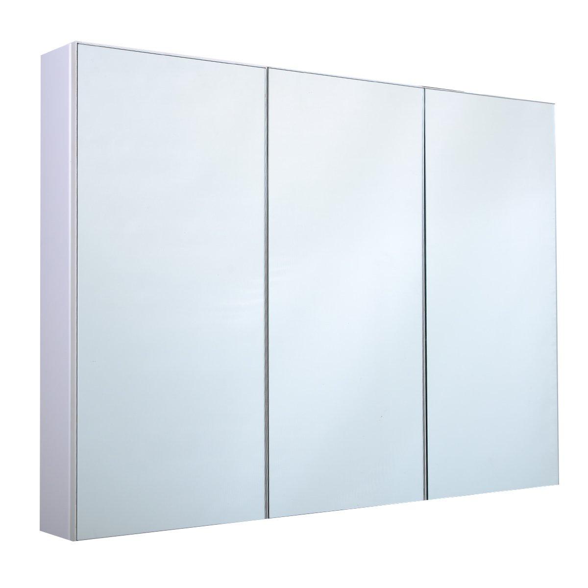 Blitzzauber24 Armoire de Toilette/Salle de Bain à Miroir Murale 3 Portes MDF