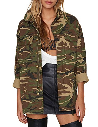 hodoyi Womens Camo Full Sleeve Outwear Casual Pocket Jacket(L,Woodland Camo) -