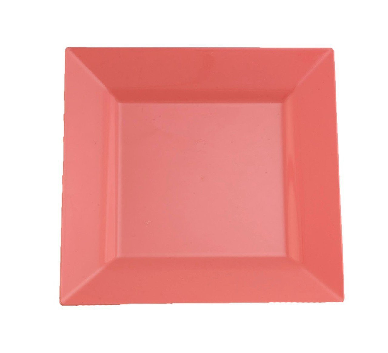 Kaya Collection - Coral Blush Peach Plastic Square 9.5'' Dinner Plates - Disposable or Reusable - 1 Case (120 Plates)