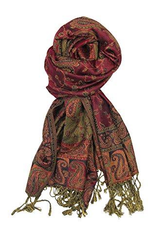 Achillea Soft Silky Reversible Paisley Pashmina Shawl Wrap Scarf w/ Fringes (Burgundy)