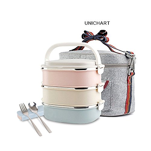 Update Unichart Stainless Steel Square Lunch Box, Lock Container Bag, Spoon and Chopsticks Set Heat/cold Insulated Kids Students for A Office Snack Food Storage Boxes - Face Finding For Glasses Your