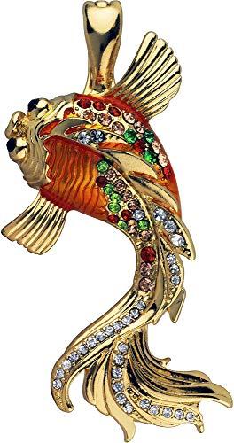 - Wearable Art by Roman Orange Koi Fish Pendant Orange/Gold Tone Multi