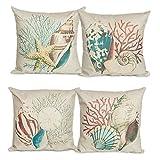 CJESLNA 4 Pack Ocean Theme Squre Cotton Linen Throw Pillow Cushion Cover Case Conch Shell 17'' X 17''