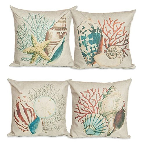 Beach Decor Throw Pillow - CJESLNA 4 Pack Ocean Theme Squre Cotton Linen Throw Pillow Cushion Cover Case Conch Shell 17