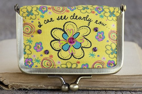 Natural Life Yellow Flower Fabric Contact Lens Case ''I Can See Clearly Now'' with Mirror