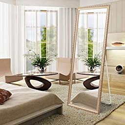 The Summer Deal! H&A Rectangle Bedroom Floor Mirror with Foldable Back Support, Solid Wood Frame Free Standing Dressing Mirror, Retro Style, 63\