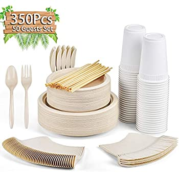 Gezond 350Pcs Disposable Dinnerware Set, Eco-friendly Dinnerware Includes Compostable Biodegradable Plates, Forks, Knives, Spoons, Cups and Straws for 50 Guest Party, Birthday, Picnic