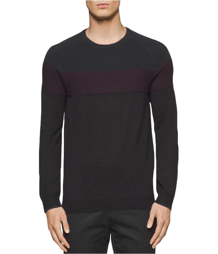 Calvin Klein Men's Merino Color Blocked Crew Neck Sweater, Black, X-Large
