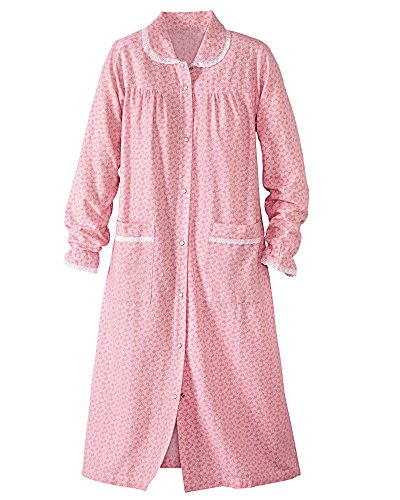 Flannel House Coat, Pink, 1X (Pink Trim Snap)