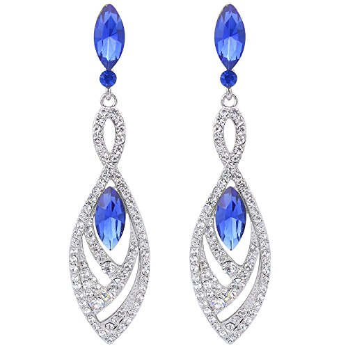 BriLove Women's Fashion Dangle Earrings with Crystal Gorgeous Twisted Dual Teardrop Chandelier Sapphire Color Silver-Tone -