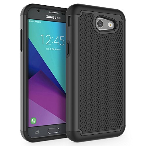 Case for Samsung Galaxy J3 Emerge/J3 2017/J3 Prime/J3 Mission/J3 Eclipse/J3 Luna Pro/Sol 2/Amp Prime 2/Express Prime 2, SYONER [Shockproof] Defender Phone Case Cover [Black]