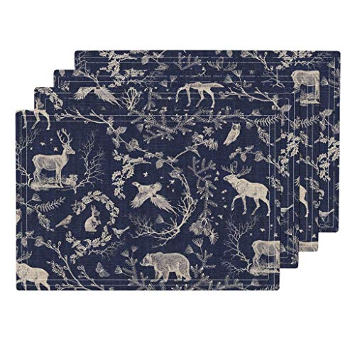 Toile 4pc Linen Cotton Canvas Cloth Placemat Set - Deer Stag Rabbit Owl Toile Christmas Navy Moose Night Time Midnight Blue Log Cabin Nature by Nouveau Bohemian (Set of 4) 13 x 19in