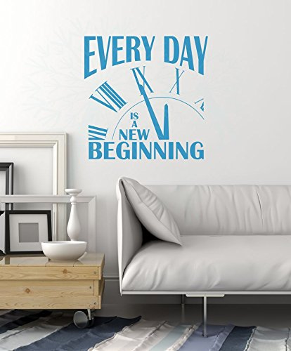 Everyday is a New Beginning Vinyl Lettering Motivational Wall Words, Bayou Blue, 23x23 by Wall Decor Plus More (Image #1)