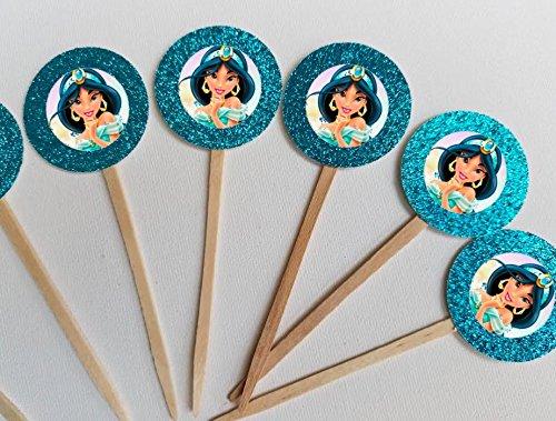 Princess Jasmine Birthday (8 Disney Princess Jasmine Aladdin Cupcake Toppers for Birthday Party Favor Goody)