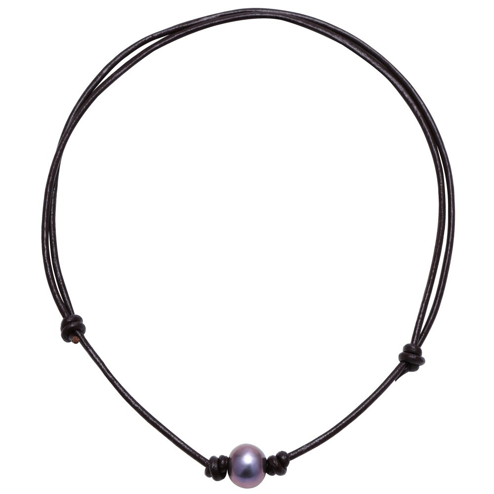 Aobei Cultured Freshwater One Black Pearl Choker Leather Necklace on Genuine Leather Cord Handmade Jewelry for Women Aobei Pearl S001-QZB-18