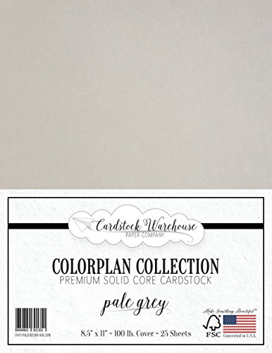 PALE GREY Cardstock Paper - 8.5 x 11 inch Premium 100 lb. Cover - 25 Sheets from Cardstock Warehouse by Cardstock Warehouse