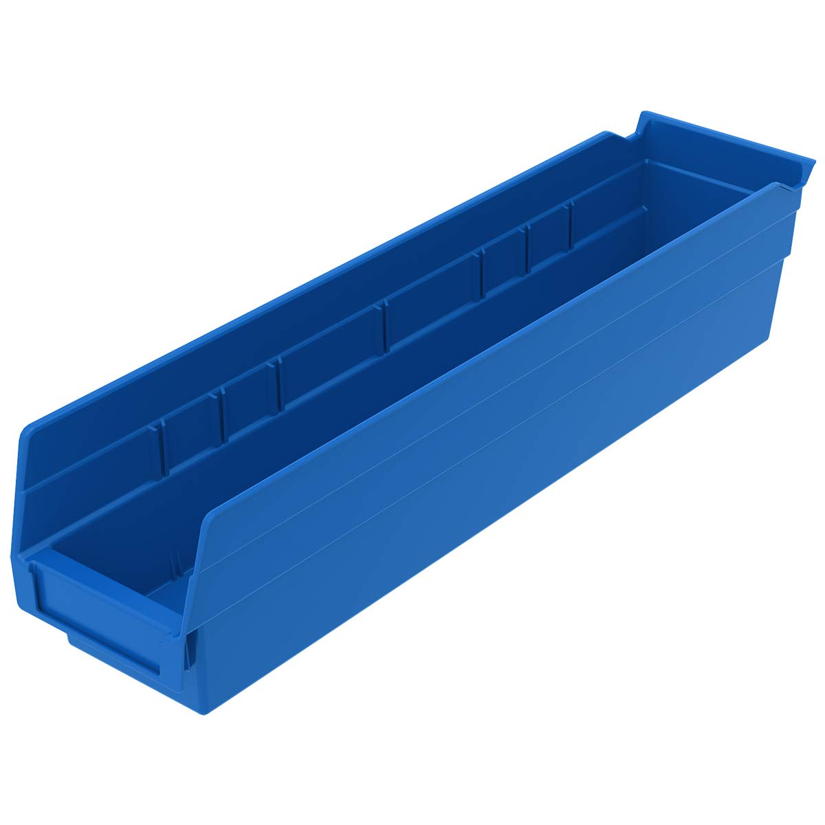 Akro-Mils 30128 18-Inch by 4-Inch by 4-Inch Plastic Nesting Shelf Bin Box, Blue, Case of 12 by Akro-Mils