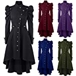 STORTO Womens Vintage Steampunk Long Coat,Plus Size Gothic Retro Button Jacket 8
