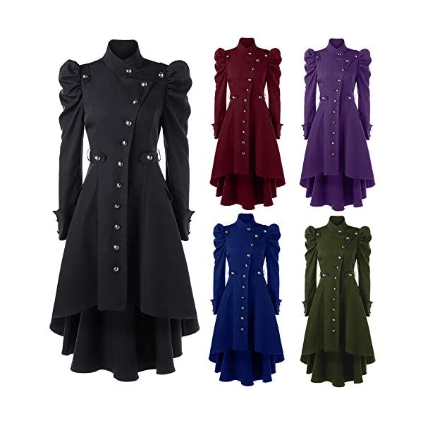 STORTO Womens Vintage Steampunk Long Coat,Plus Size Gothic Retro Button Jacket 5