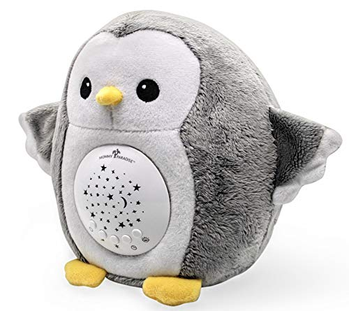 Baby Gifts Soother Sound Machine, White Noise Sleep Aid, Cry Sensor & Night Light Projector. Portable Cuddly Nursery Baby Owl Stuffed Animal Toy with Shusher & Lullaby Songs.