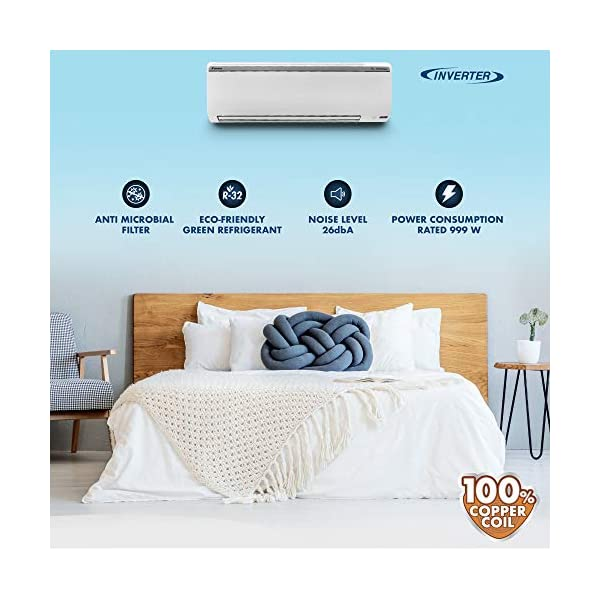 Daikin 1 Ton 5 Star Wi-Fi Inverter Split AC (Copper, Anti Microbial Filter, 2020 Model, FTKR35TV, White) 2021 July Split AC with inverter compressor: Variable speed compressor which adjusts power depending on heat load. It is most energy efficient and has lowest-noise operation 1.0 Ton Energy Rating: 5 Star: , Annual Energy Consumption (as per energy label): 577 units, ISEER Value: 4.7