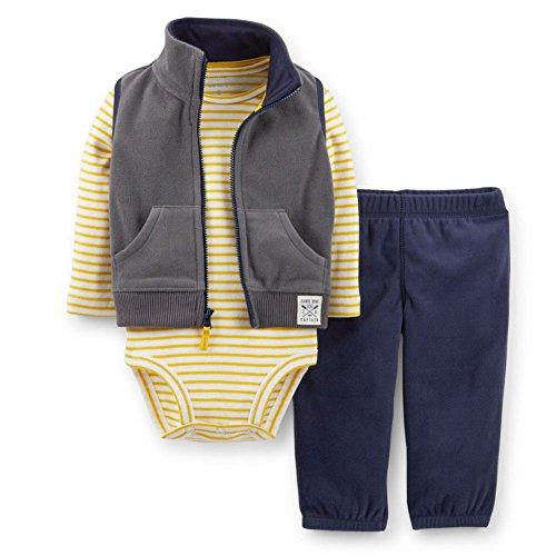 Carter Infant Boy 3 Piece Canoe Boat Captain Sweat Pants Creeper Jacket Vest 6m