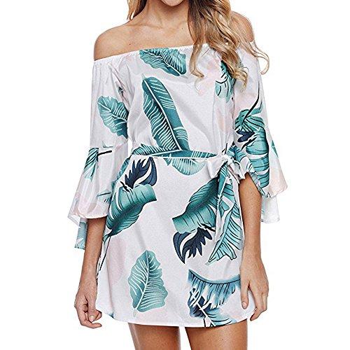 (NEARTIME Womens Dress, Off Shoulder Flounce Sleeves Casual Floral Short Mini Dress)