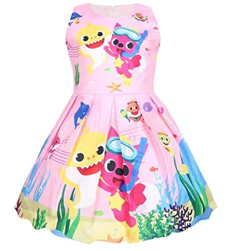 (Coralup Toddler Girls Baby Shark Sleeveless Party Dress(Pink,18-24 Months))