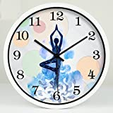 fwerq Yoga Studio weight-loss practice room to the Meditation Art Decoration mute Hanging wall clock Table Select (Color White Size: S,)