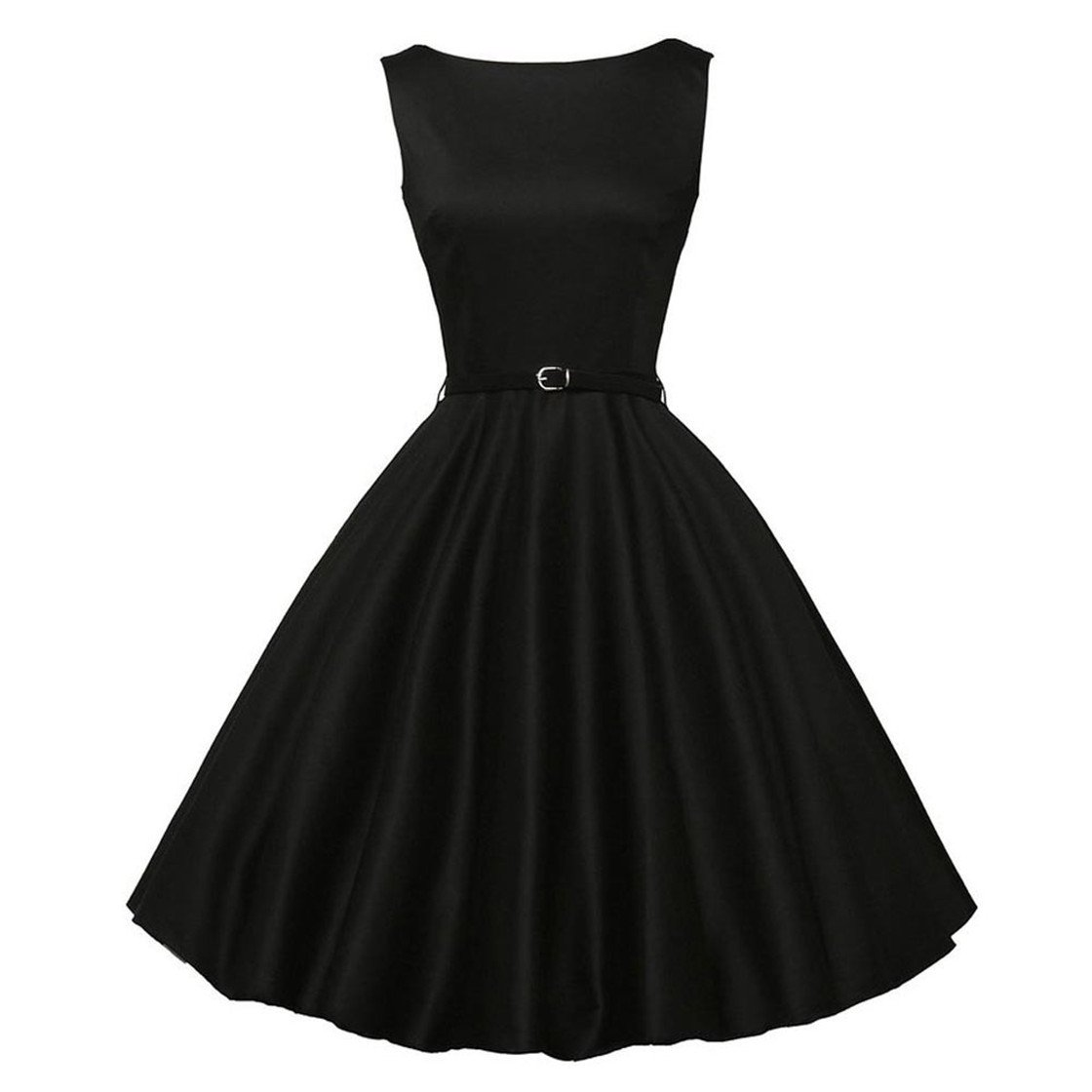 Mose New!!❃❤️❃! Dresses Women Vintage Bodycon Sleeveless Casual Retro Evening Party Tops Prom Swing Vintage Hepburn Style Waist Fashion Dress (XL, Black)