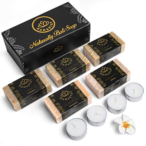 Natural Scented Soap Bar gift set, face soap, Candles Box, Vegan Hand and Body Moisturizing Bath Soaps, 5-Pack, Luxury Gift Set for Men, Women - Eco Friendly, body soap