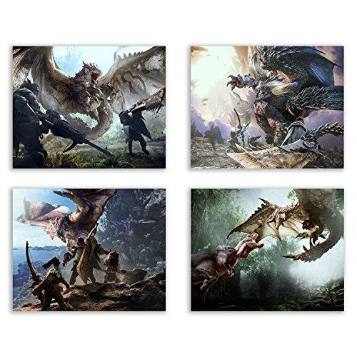Crystal Monster Hunter World Prints - Rathalos - Anjanath - Nergigante - Set of Four 8x10 Poster Wall Art Photos (The Best Monster Hunter Game)