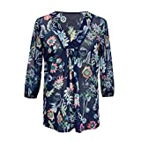 Women Fashion Floral Printed Chiffon Flowy Shirts 3/4 Lantern Sleeve Deep V Neck Blouse Shirt Tunic Top Navy