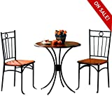 3pc Bistro Set Table 2 Chairs Metal & Wood in Black & Brown Finish Round Curved Stylish Dining Room Kitchen Home Furniture Seats with Back Support & eBook by Easy&FunDeals