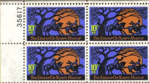 Halloween Postage Stamps (#1548-1974 10c Legend of Sleepy Hollow U. S. Postage Stamps Numbered Plate Block)