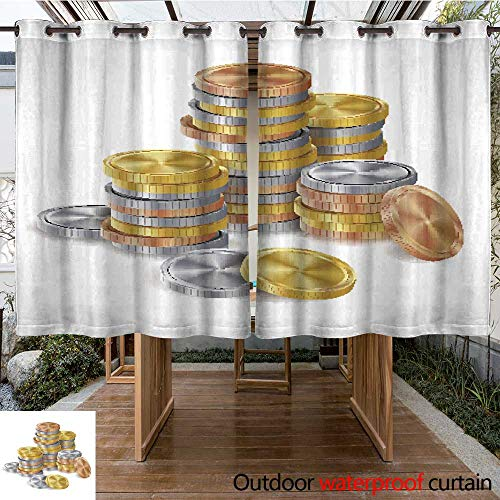 RenteriaDecor Home Patio Outdoor Curtain Gold Silver Bronze Copper Coins Stacks Vector Golden Finance Icons Sign Success Banking Cash Symbol Realistic Isolated I W84 x L72