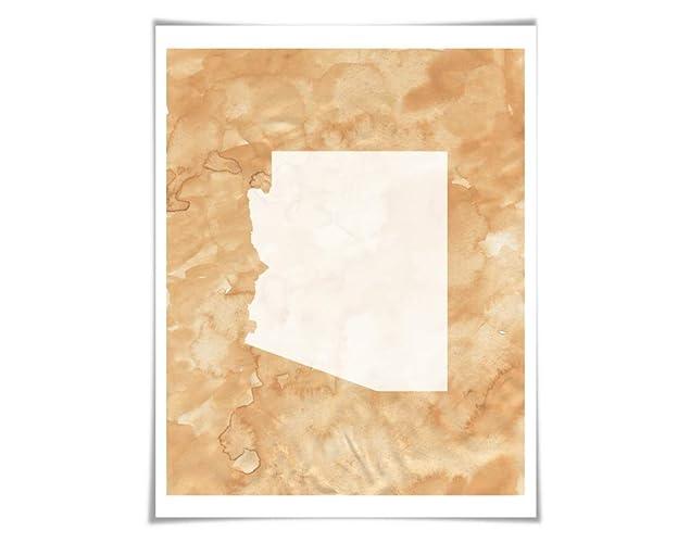 Map Of Just Arizona.Amazon Com Arizona State Map Watercolour Art Print 11 Colour