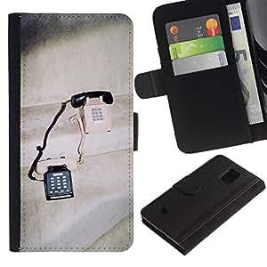 iBinBang / Flip Funda de Cuero Case Cover - Teléfonos Vintage lindo Amor Pareja Compartiendo - Samsung Galaxy S5 Mini, SM-G800, NOT S5 REGULAR!