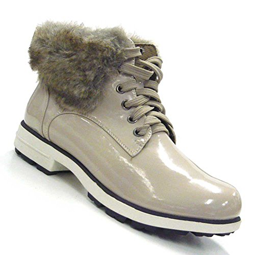 Schuh-City High Fashion Sneaker Lack Optik Stiefeletten Kunstfell Stiefel beige 36