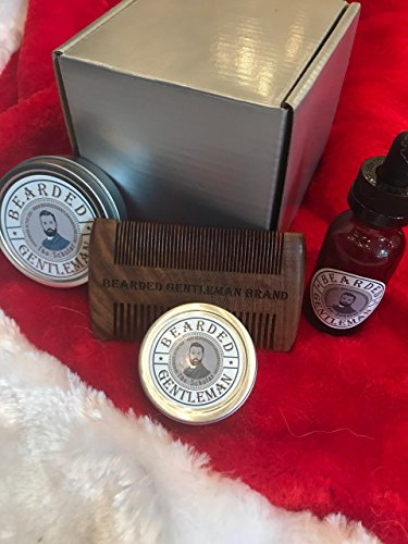 Bearded Gentleman - Beard Balm, Oil, Men's Solid Cologne, and Comb Gift Set: Scholar - Vanilla & Tobacco | Small Batch Premium Hand Made Beard Care by Bearded Gentleman