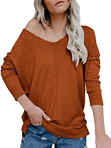 (Ybenlow Womens Off Shoulder V Neck Sweater Batwing Sleeve Oversized Pullover Knit Jumper Slouchy Tunic Tops (Medium, Brick Red))