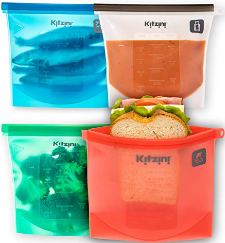 Reusable Silicone Food Bag for Storage - Reusable Sandwich Bags for Snacks - Cheaper and more Eco friendly than Plastic - Hygienic & Leakproof - Safe For Dishwasher, Microwave, Freezer - 4 pack Quart