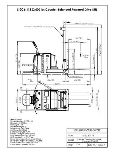 Vestil S-2CB-118 Stacker Counter Balance 36