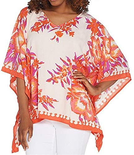 Theodora & Callum Printed Scarf Top (Missy One Size, Pale Pink w/orng, pnk, purp)]()