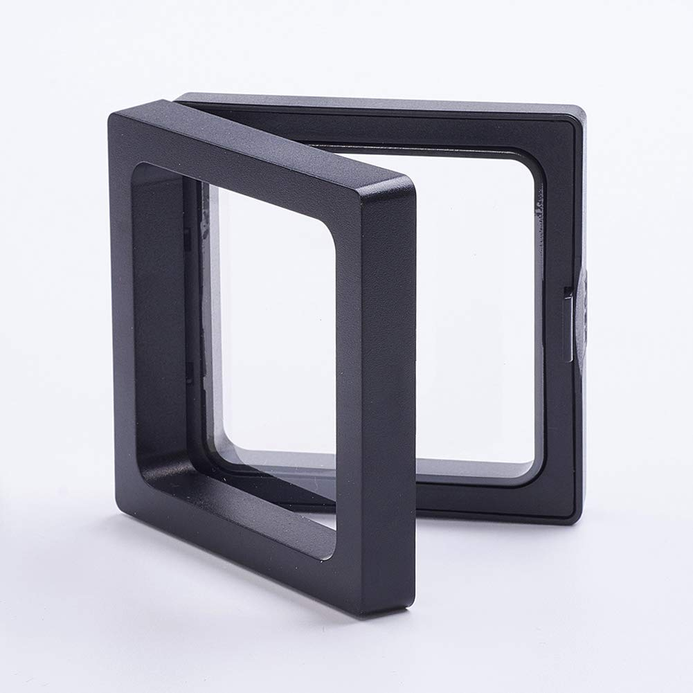 PH PandaHall About 10 Sets Plastic Floating Frame Stands for Jewelry with Transprent Membrane Rhombus Black Jewelry Display Stand for Ring, Pendant, Bracelet Jewelry Display by PH PandaHall (Image #3)