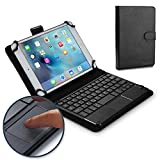 Cooper TOUCHPAD Executive Keyboard case 7'' - 8'' inch Tablets | 2-in-1 Bluetooth Wireless Keyboard Touchpad & Leather Folio Cover | Touchpad Mouse, Stand, 100HR Battery, 14 Hotkeys (Black)